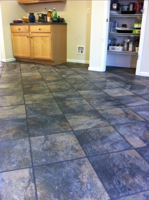Kitchen floor grouted