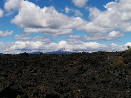 Snowy peaks off in the distance from the basalt flow.
